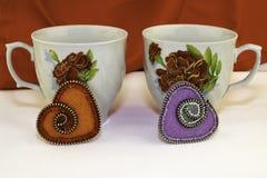 O dia de Valentim, produtos feitos a mão do feltro fotografia de stock royalty free