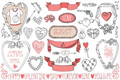 O dia de Valentim, quadros do casamento, grupo de elemento da decoração Imagem de Stock