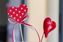 O dia de Valentim vermelho do St. dos corações Fotos de Stock Royalty Free