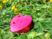 O dia de Valentim vermelho feliz do coração em terras do jogo Imagem de Stock