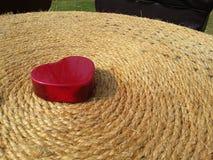 O dia de Valentim vermelho feliz do coração na terra preta Fotografia de Stock