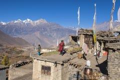 O dia a dia dos aldeões Jharkot Imagem de Stock