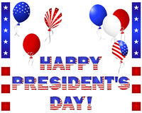 O Dia do presidente. Texto e balões bonitos. Foto de Stock Royalty Free