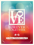 O dia e o casamento de Valentim AMAM o fundo de Bokeh da palavra ilustração do vetor