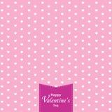 O dia e o coração branco de Valentim feliz no fundo cor-de-rosa Dia do Valentim Imagens de Stock