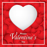 O dia e o coração branco de Valentim no fundo vermelho do coração O dia de Valentim do vetor Foto de Stock Royalty Free