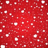 O dia e o coração branco de Valentim no teste padrão do céu O dia de Valentim do vetor no fundo vermelho Fotografia de Stock Royalty Free