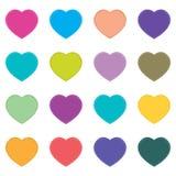 O dia e o coração colorido de Valentim no fundo branco Coração completo no feriado Foto de Stock