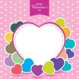 O dia e o coração colorido de Valentim no fundo cor-de-rosa O dia de Valentim do vetor Fotos de Stock