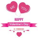 O dia e o coração cor-de-rosa de Valentim isolados no fundo branco Você e eu foram junto Foto de Stock
