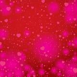 O dia e o coração de Valentim no fundo vermelho Fundo do dia de Valentim do vetor Imagem de Stock