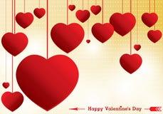O dia e o coração vermelho de Valentim no fundo amarelo Fundo do dia de Valentim do vetor Foto de Stock