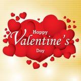 O dia e o coração vermelho de Valentim no fundo colorido O dia de Valentim do vetor Fotos de Stock