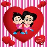 O dia e os amantes de Valentim isolados no fundo colorido Fundo do dia de Valentim do vetor Foto de Stock
