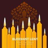 O dia emprestado budista com a paz em seu texto da mente na luz amarela da vela e a Buda assinam o fundo do vetor ilustração royalty free