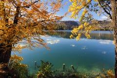 O dia ensolarado do outono no lago sangrou, Eslovênia Fotos de Stock Royalty Free