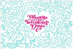 O dia feliz do Valentim s da frase da caligrafia do cartão com monoline floresce o coração Rotulação tirada mão do dia de Valenti ilustração do vetor