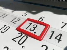 13o dia marcado no calendário do escritório foto de stock royalty free