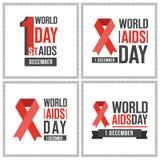 O Dia Mundial do Sida carda a coleção Imagens de Stock Royalty Free