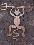 O diabo como o símbolo para o parque de Timanfaya fotografia de stock