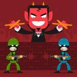 O diabo controla fantoches dos soldados Imagem de Stock Royalty Free
