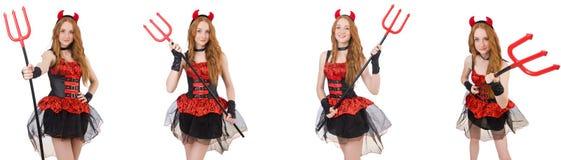 O diabo da mulher com o tridente no branco fotografia de stock royalty free