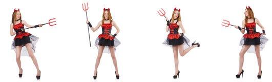 O diabo da mulher com o tridente no branco imagens de stock royalty free