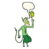 o diabo dos desenhos animados na camisa e o laço com discurso borbulham Foto de Stock Royalty Free