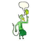 o diabo dos desenhos animados na camisa e o laço com discurso borbulham Fotos de Stock