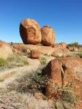 O diabo perdeu seus mármores no interior de Austrália imagens de stock