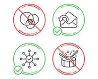 O diagrama de Euler, envia o grupo dos ?cones do correio e da verifica??o da avalia??o Os cilindros assinam Vetor ilustração stock