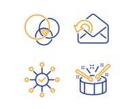 O diagrama de Euler, envia o grupo dos ?cones do correio e da verifica??o da avalia??o Os cilindros assinam Vetor ilustração do vetor