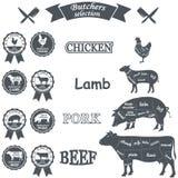 O diagrama do vetor cortou carcaças da galinha, porco, vaca ilustração do vetor