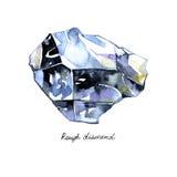 O diamante áspero de cristal da aquarela pintado isolou o fundo no branco Imagens de Stock Royalty Free