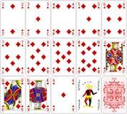 O diamante dos cartões do pôquer ajustou um projeto clássico de quatro cores Fotografia de Stock Royalty Free