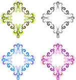 O diamante quatro deu forma ao quadro do vintage para fotos com um quadrado no centro Preto, azul, verde e cor-de-rosa Fotos de Stock Royalty Free