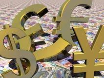 O DINHEIRO ASSINA OS SÍMBOLOS ESTRANGEIROS Imagens de Stock Royalty Free