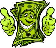 O dinheiro com as mãos que dão os polegares levanta desenhos animados do gesto Foto de Stock