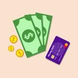 O dinheiro com o cartão de banco, colore o ícone liso Fotos de Stock Royalty Free