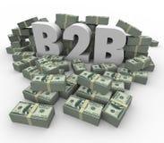 O dinheiro das pilhas do dinheiro de B2B empilha vendas do negócio dos lucros do salário Imagens de Stock