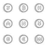 O dinheiro de ícones dos países ajustou, esboçou o estilo ilustração do vetor