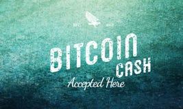 O dinheiro de Bitcoin aceitou aqui o branco retro do projeto no Grunge Imagem de Stock Royalty Free