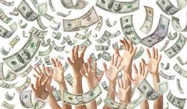 O dinheiro de queda entrega o fundo da bandeira dos dólares imagens de stock royalty free