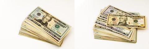 O dinheiro do dinheiro empilha a colagem das cédulas das pilhas Imagens de Stock Royalty Free