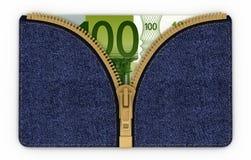 Dinheiro em suas calças de brim do bolso Foto de Stock Royalty Free