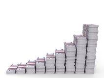 O dinheiro empilha o gráfico Fotografia de Stock Royalty Free