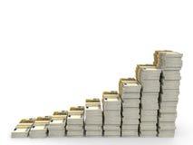 O dinheiro empilha o gráfico Fotos de Stock