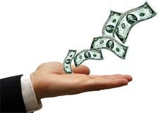 O dinheiro está voando Imagens de Stock Royalty Free
