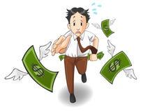 O dinheiro está voando longe do bolso Fotografia de Stock