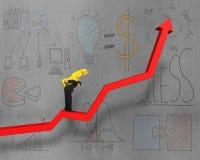 O dinheiro levando na seta vermelha com conceito do negócio rabisca Foto de Stock Royalty Free